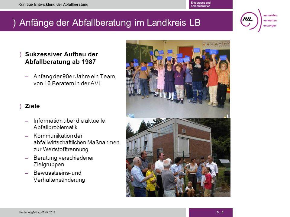Anfänge der Abfallberatung im Landkreis LB
