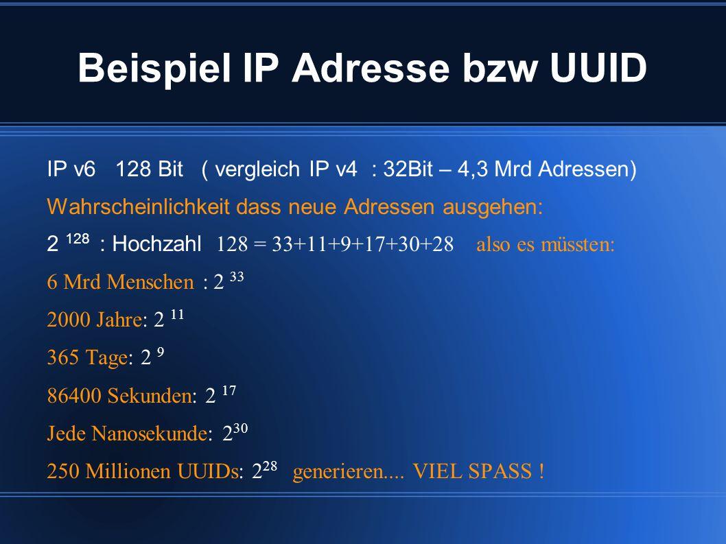 Beispiel IP Adresse bzw UUID