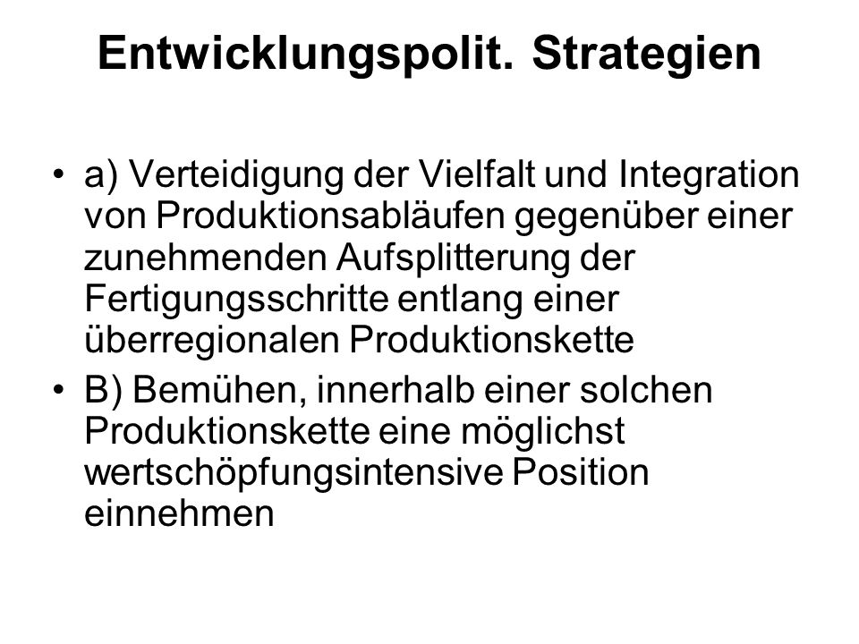 Entwicklungspolit. Strategien