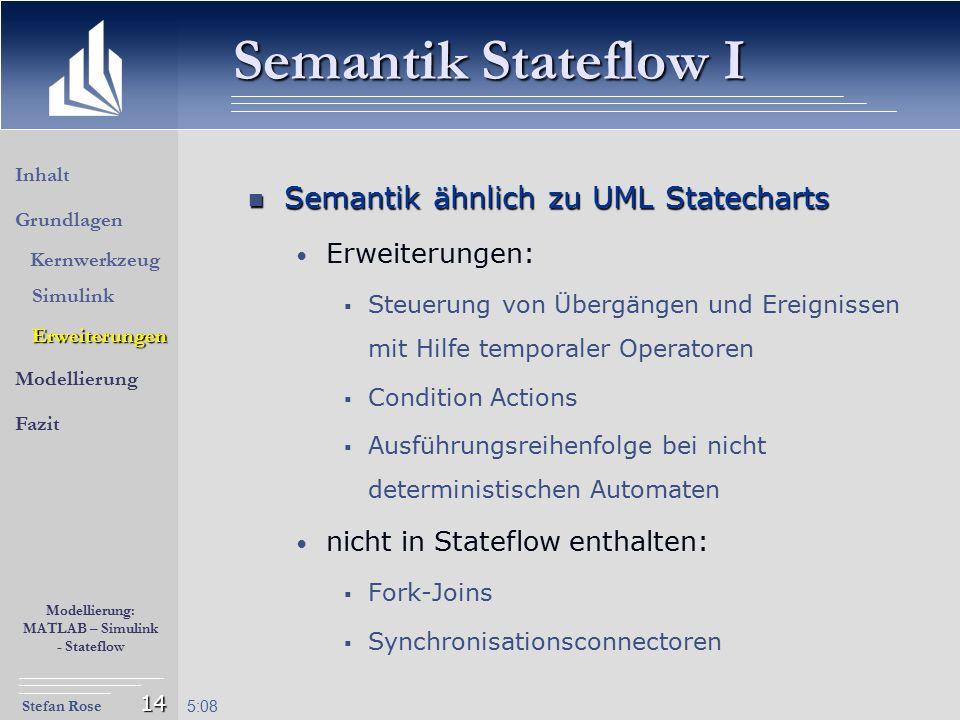 Semantik Stateflow I Semantik ähnlich zu UML Statecharts
