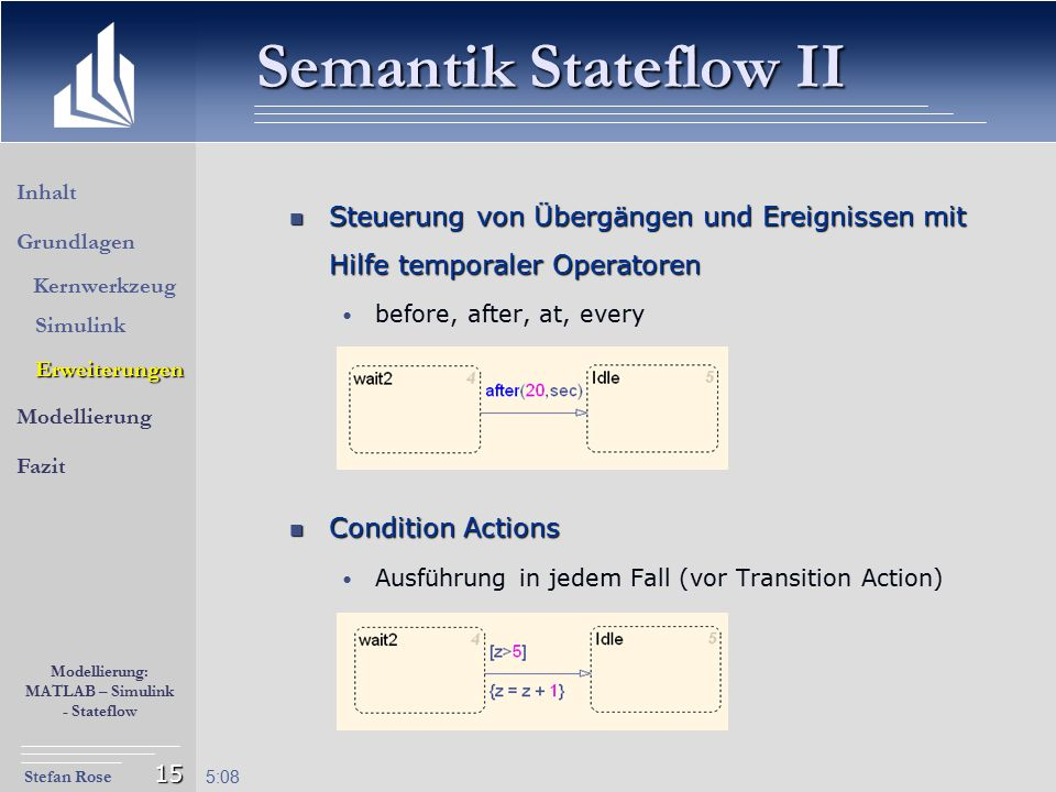 Semantik Stateflow II Inhalt. Steuerung von Übergängen und Ereignissen mit Hilfe temporaler Operatoren.