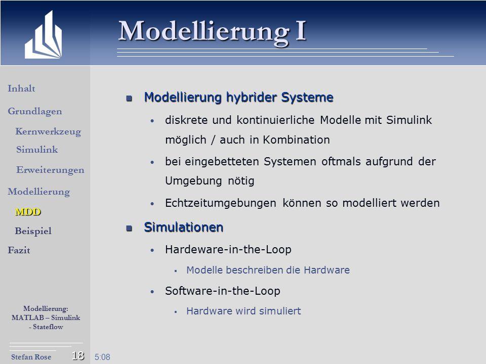 Modellierung I Modellierung hybrider Systeme Simulationen Inhalt