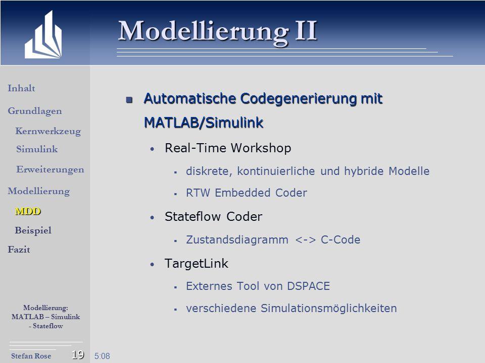 Modellierung II Automatische Codegenerierung mit MATLAB/Simulink