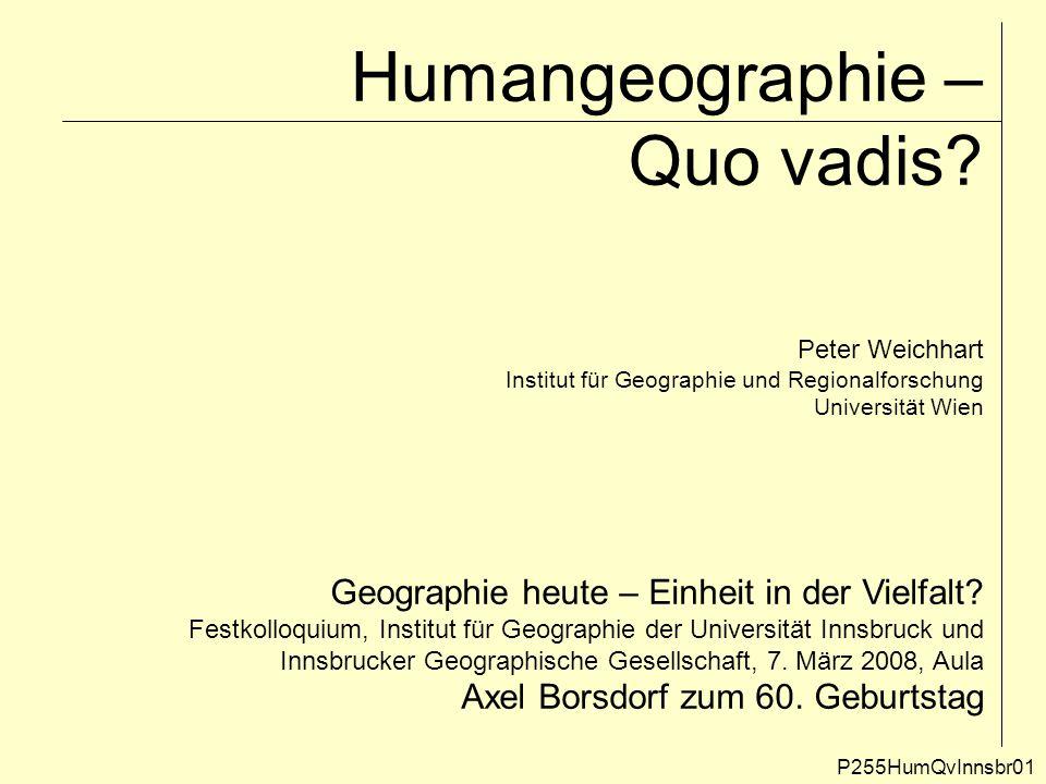 Humangeographie – Quo vadis