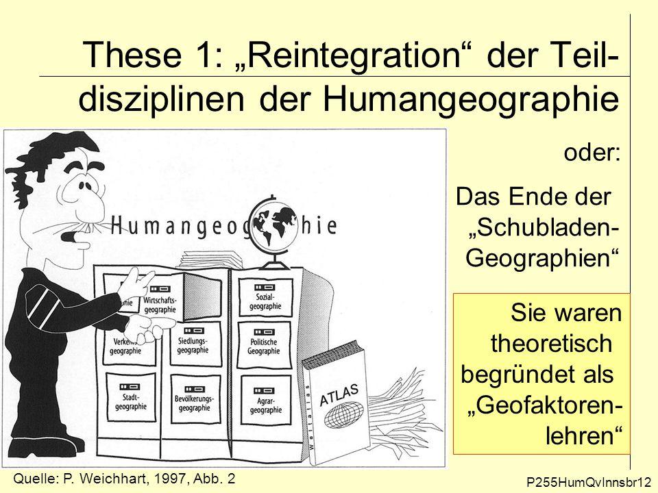 """These 1: """"Reintegration der Teil-disziplinen der Humangeographie"""