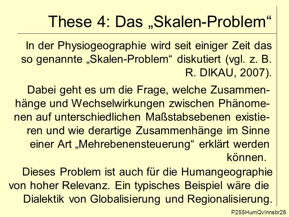 "These 4: Das ""Skalen-Problem"