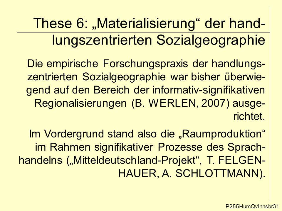 """These 6: """"Materialisierung der hand-lungszentrierten Sozialgeographie"""