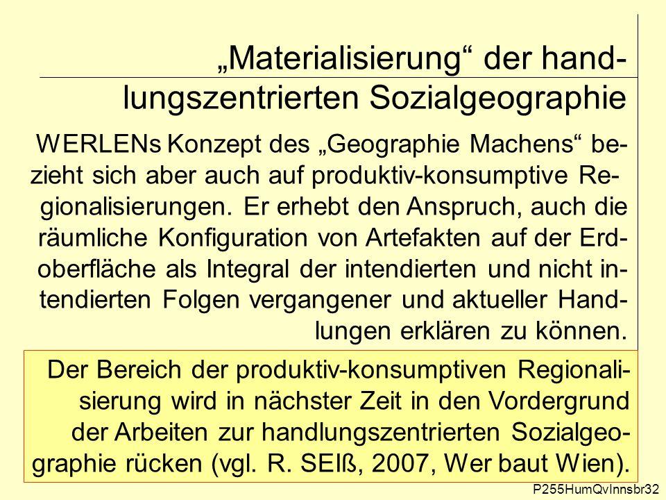 """""""Materialisierung der hand-lungszentrierten Sozialgeographie"""