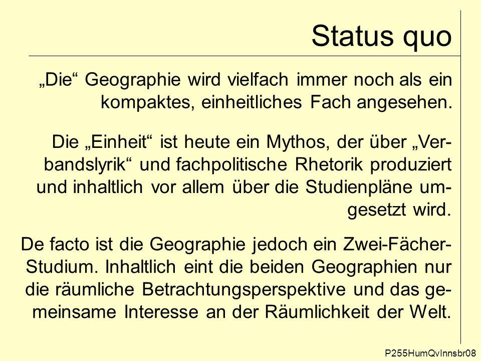 """Status quo """"Die Geographie wird vielfach immer noch als ein"""
