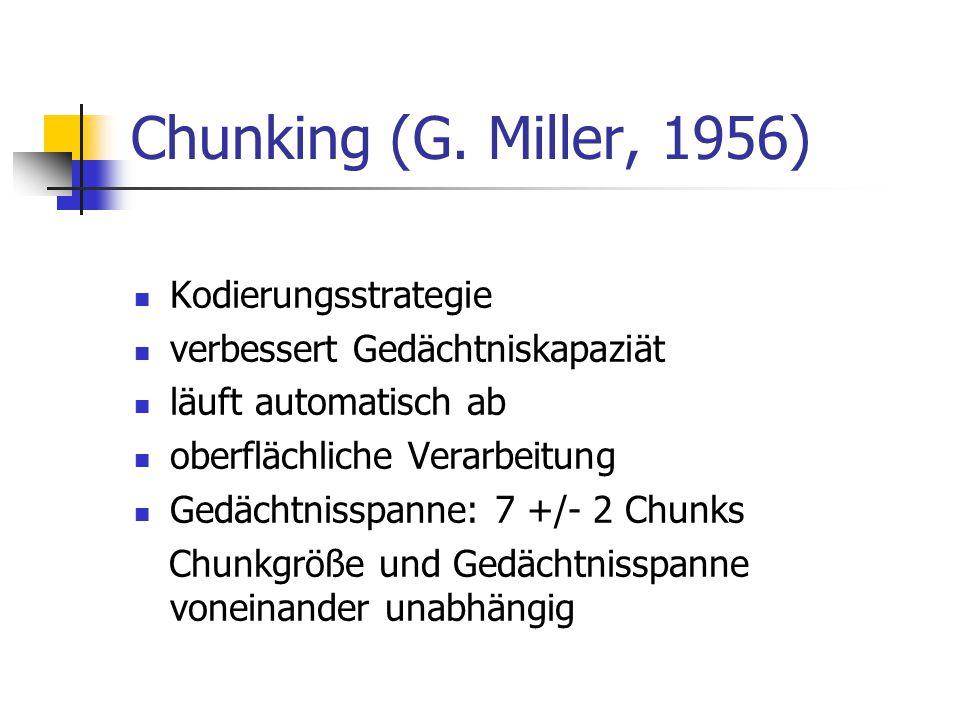 Chunking (G. Miller, 1956) Kodierungsstrategie