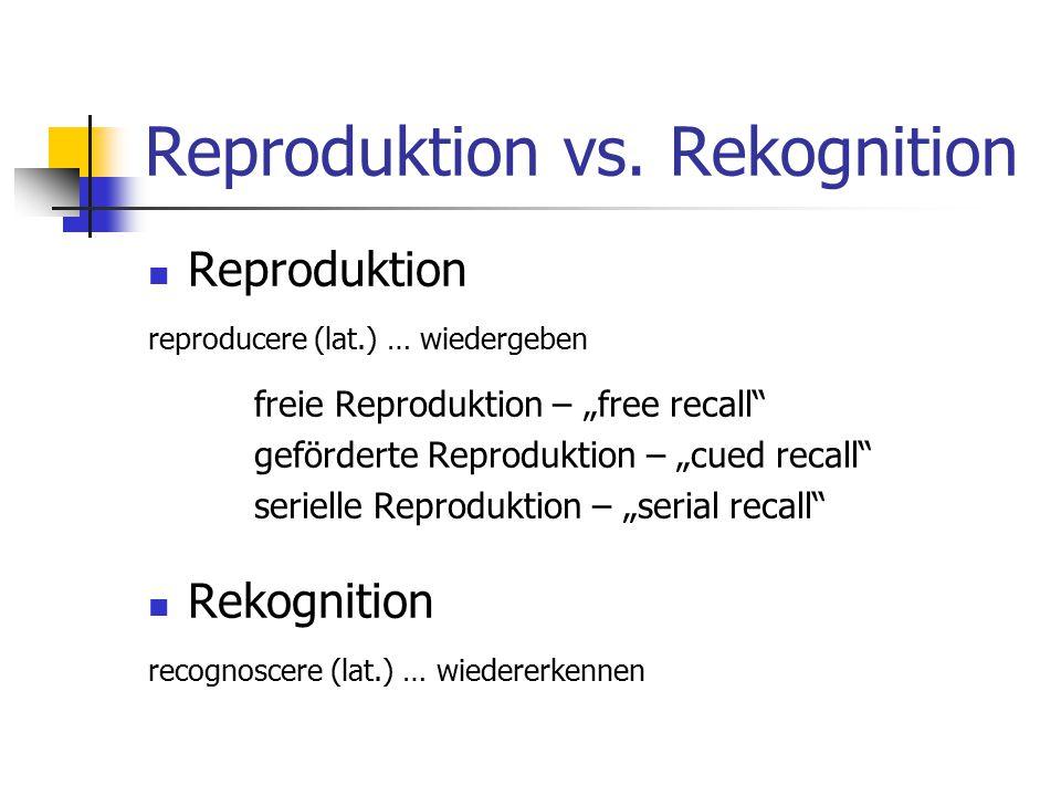 Reproduktion vs. Rekognition