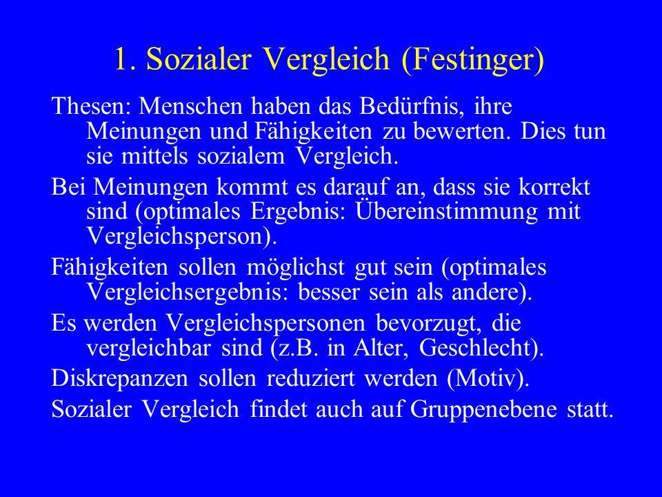 1. Sozialer Vergleich (Festinger)