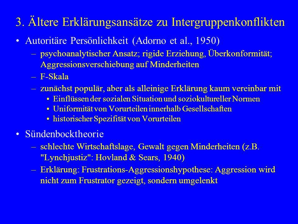 3. Ältere Erklärungsansätze zu Intergruppenkonflikten