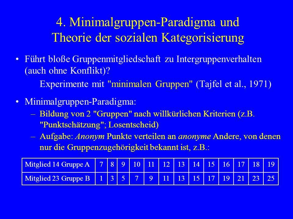 4. Minimalgruppen-Paradigma und Theorie der sozialen Kategorisierung