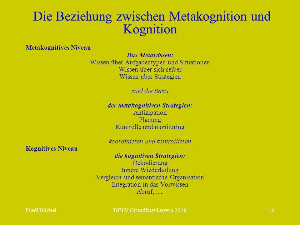 Die Beziehung zwischen Metakognition und Kognition