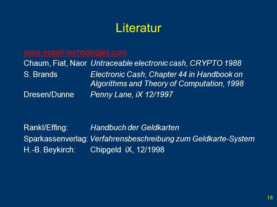 Literatur www.ecash-technologies.com