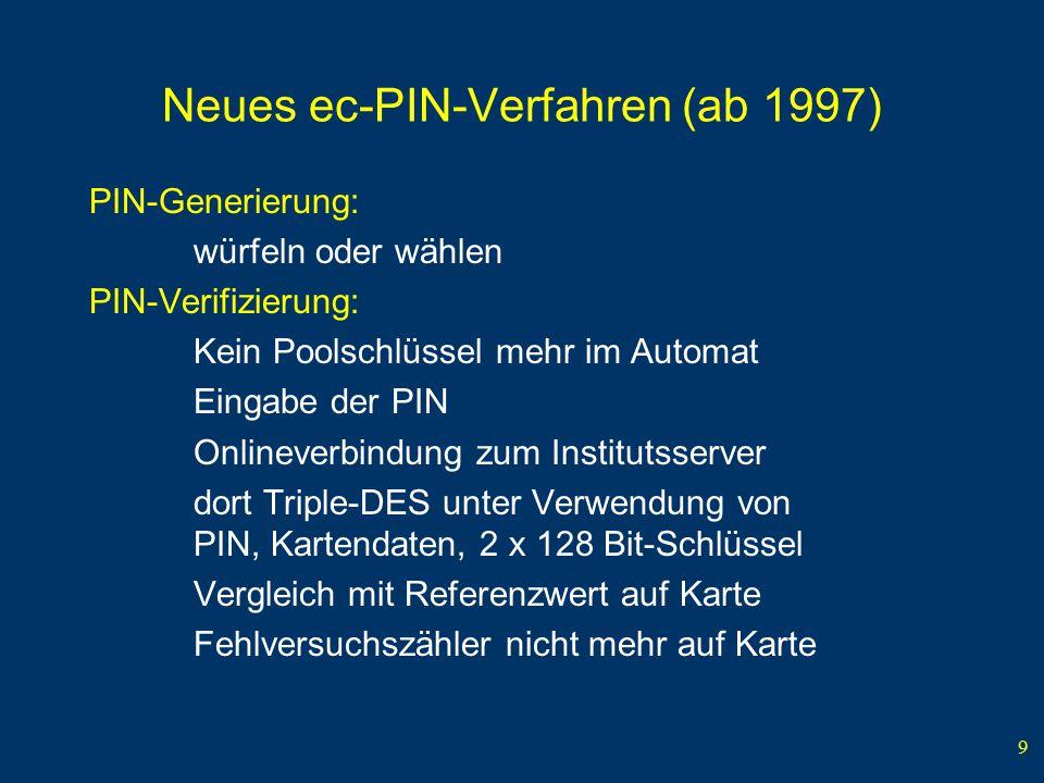 Neues ec-PIN-Verfahren (ab 1997)