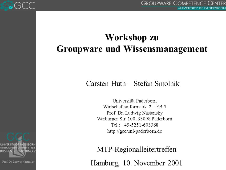 Workshop zu Groupware und Wissensmanagement
