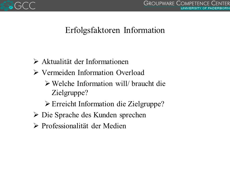 Erfolgsfaktoren Information