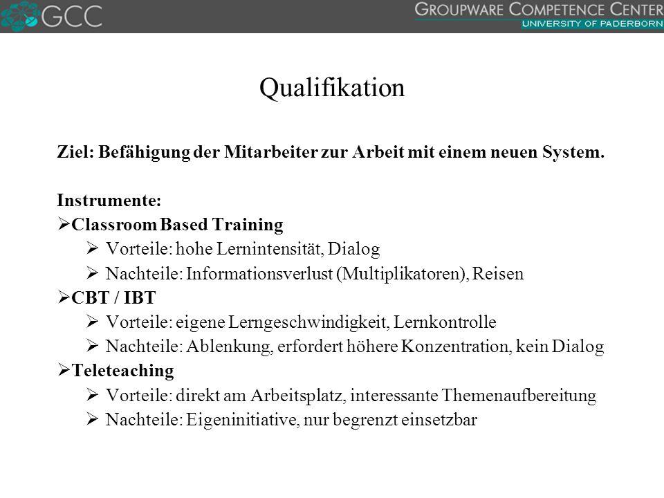 Qualifikation Ziel: Befähigung der Mitarbeiter zur Arbeit mit einem neuen System. Instrumente: Classroom Based Training.