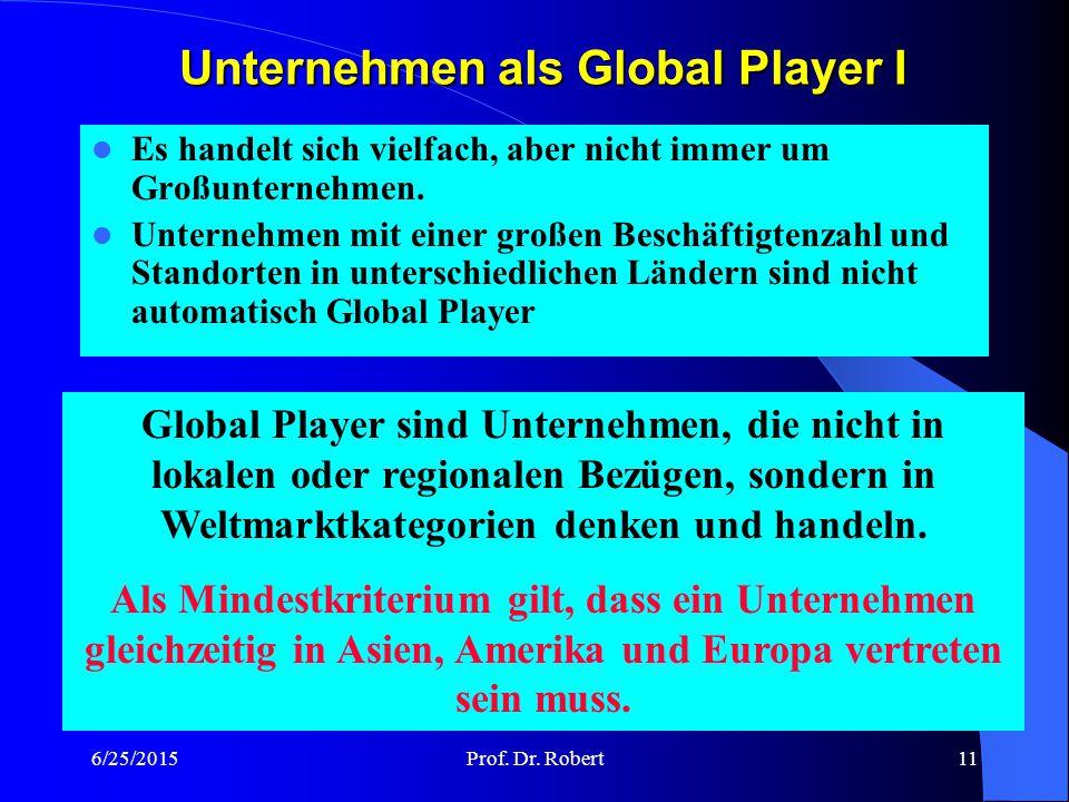 Unternehmen als Global Player I
