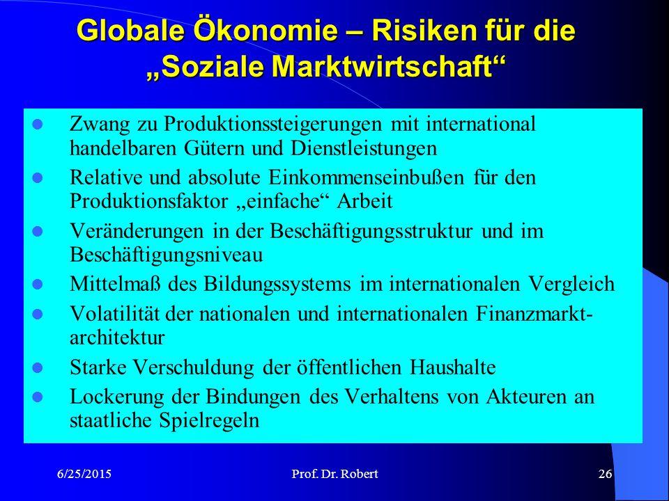 """Globale Ökonomie – Risiken für die """"Soziale Marktwirtschaft"""