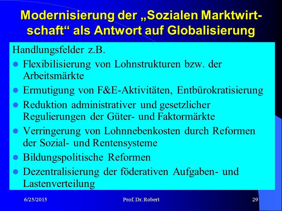 """Modernisierung der """"Sozialen Marktwirt-schaft als Antwort auf Globalisierung"""