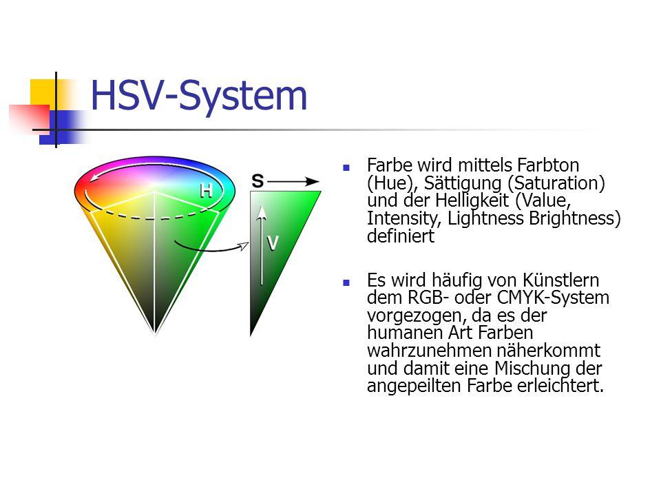 HSV-System Farbe wird mittels Farbton (Hue), Sättigung (Saturation) und der Helligkeit (Value, Intensity, Lightness Brightness) definiert.