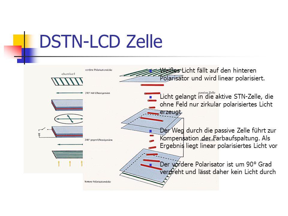 DSTN-LCD Zelle Weißes Licht fällt auf den hinteren Polarisator und wird linear polarisiert.