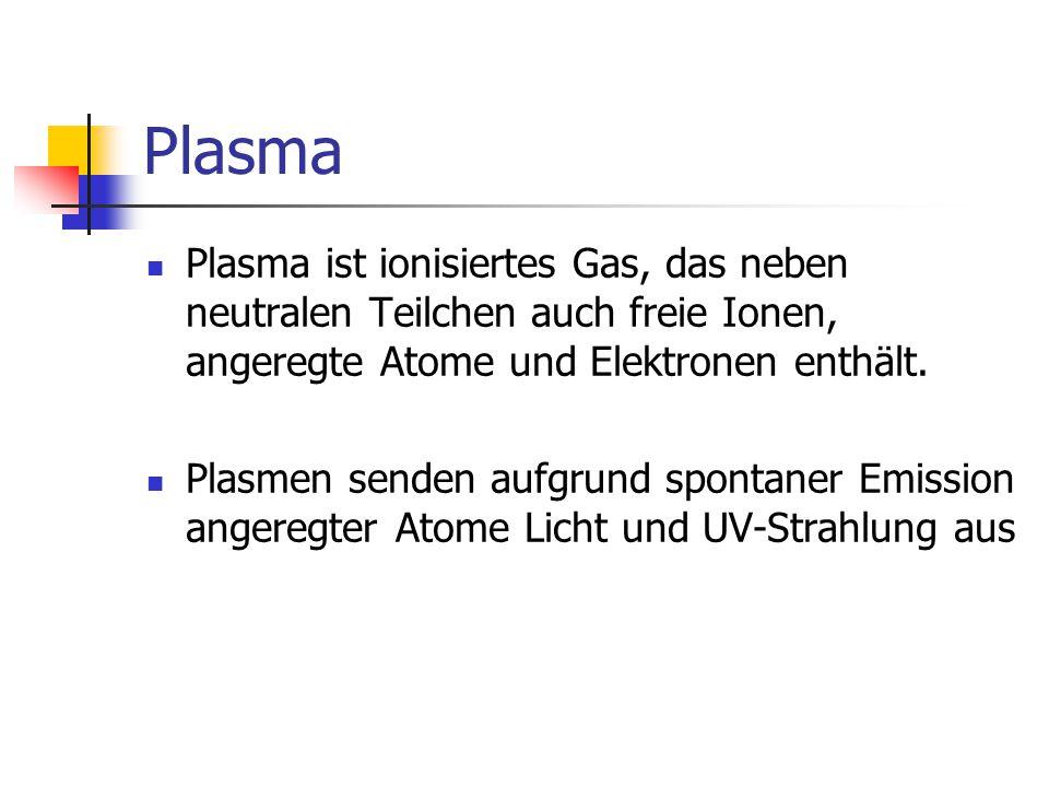 Plasma Plasma ist ionisiertes Gas, das neben neutralen Teilchen auch freie Ionen, angeregte Atome und Elektronen enthält.