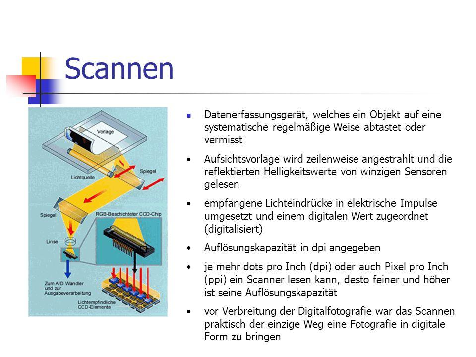 Scannen Datenerfassungsgerät, welches ein Objekt auf eine systematische regelmäßige Weise abtastet oder vermisst.