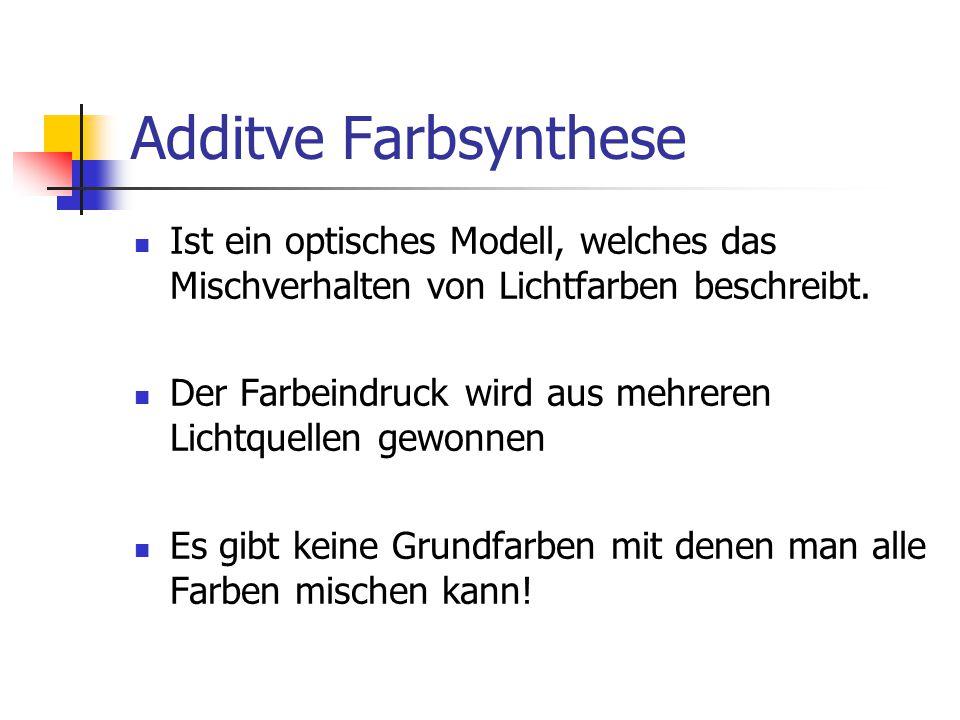 Additve Farbsynthese Ist ein optisches Modell, welches das Mischverhalten von Lichtfarben beschreibt.