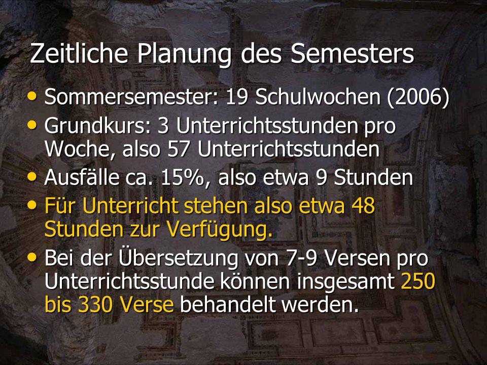 Zeitliche Planung des Semesters