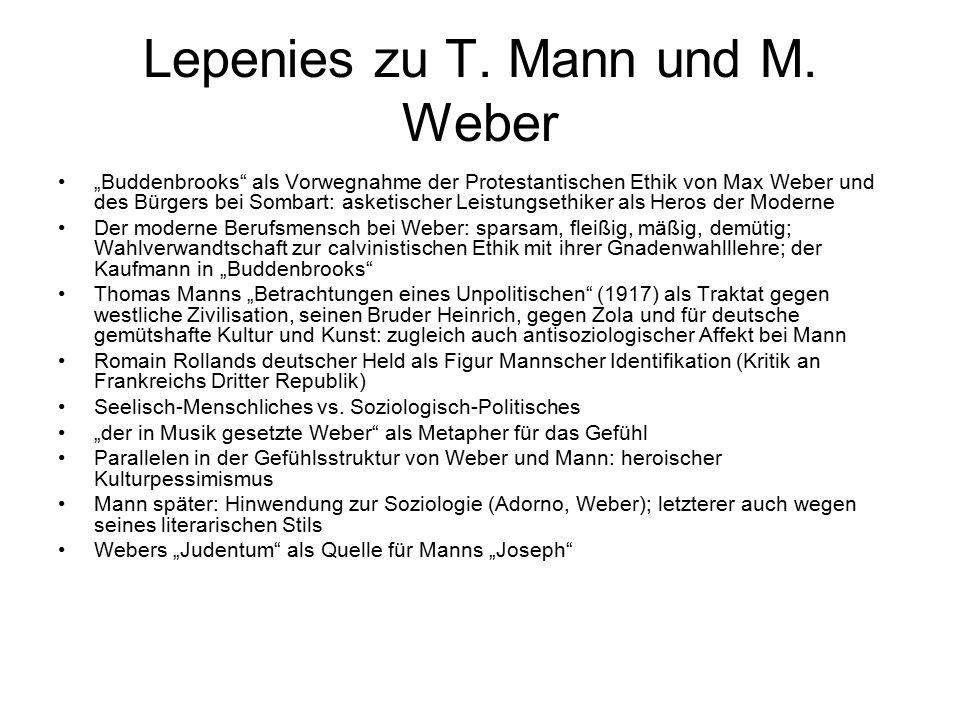 Lepenies zu T. Mann und M. Weber