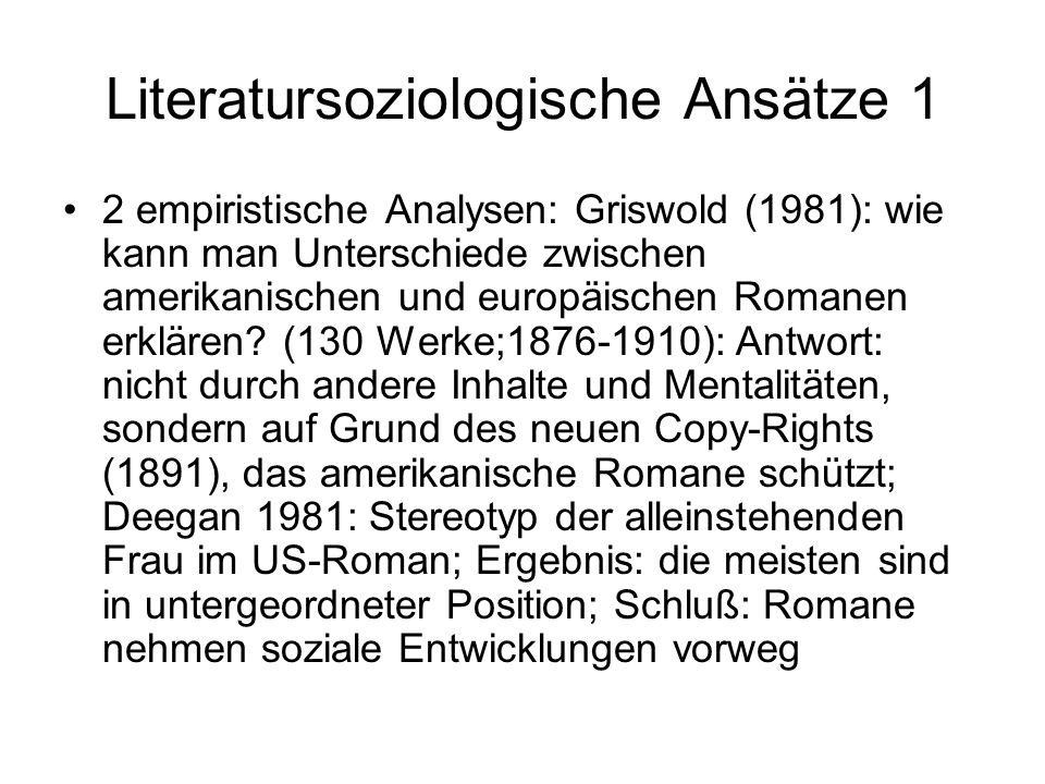 Literatursoziologische Ansätze 1