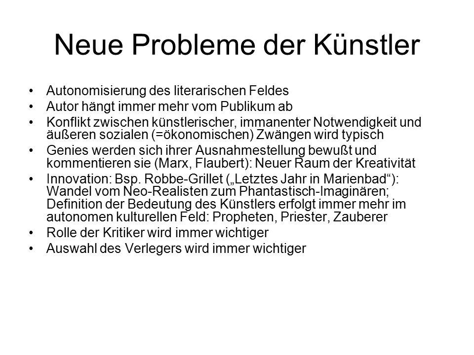 Neue Probleme der Künstler