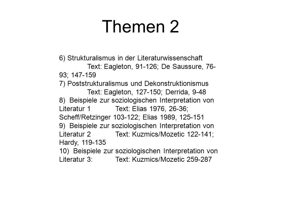 Themen 2 6) Strukturalismus in der Literaturwissenschaft