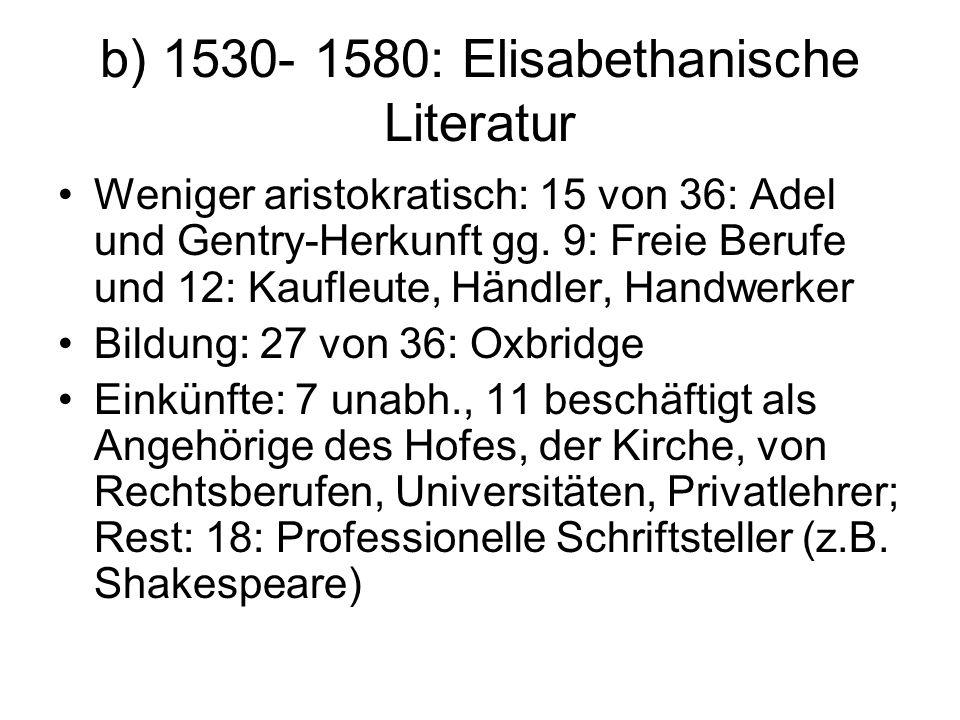 b) 1530- 1580: Elisabethanische Literatur