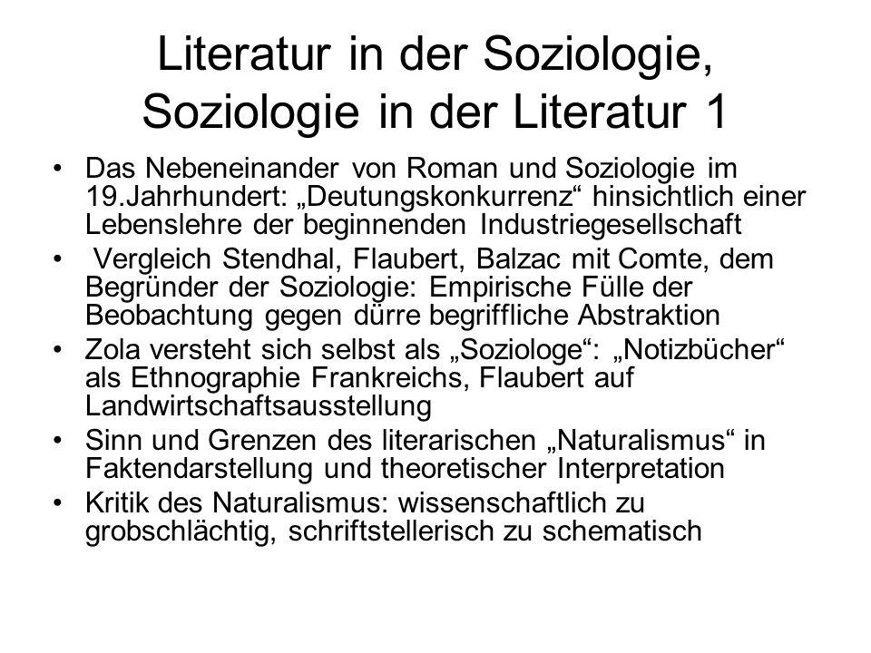 Literatur in der Soziologie, Soziologie in der Literatur 1