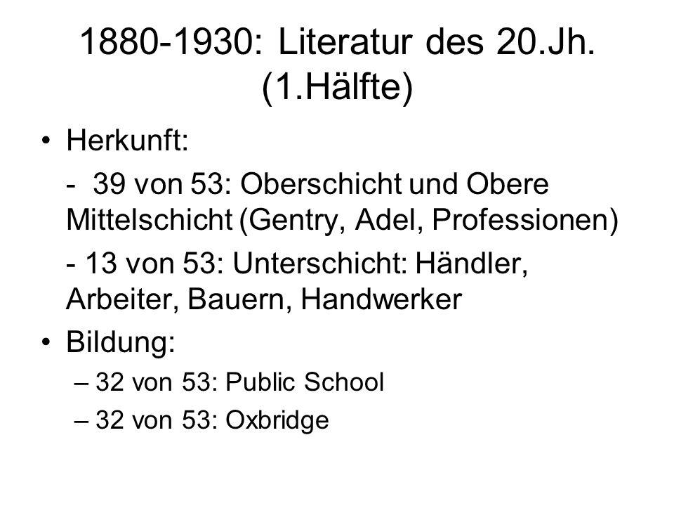 1880-1930: Literatur des 20.Jh. (1.Hälfte)