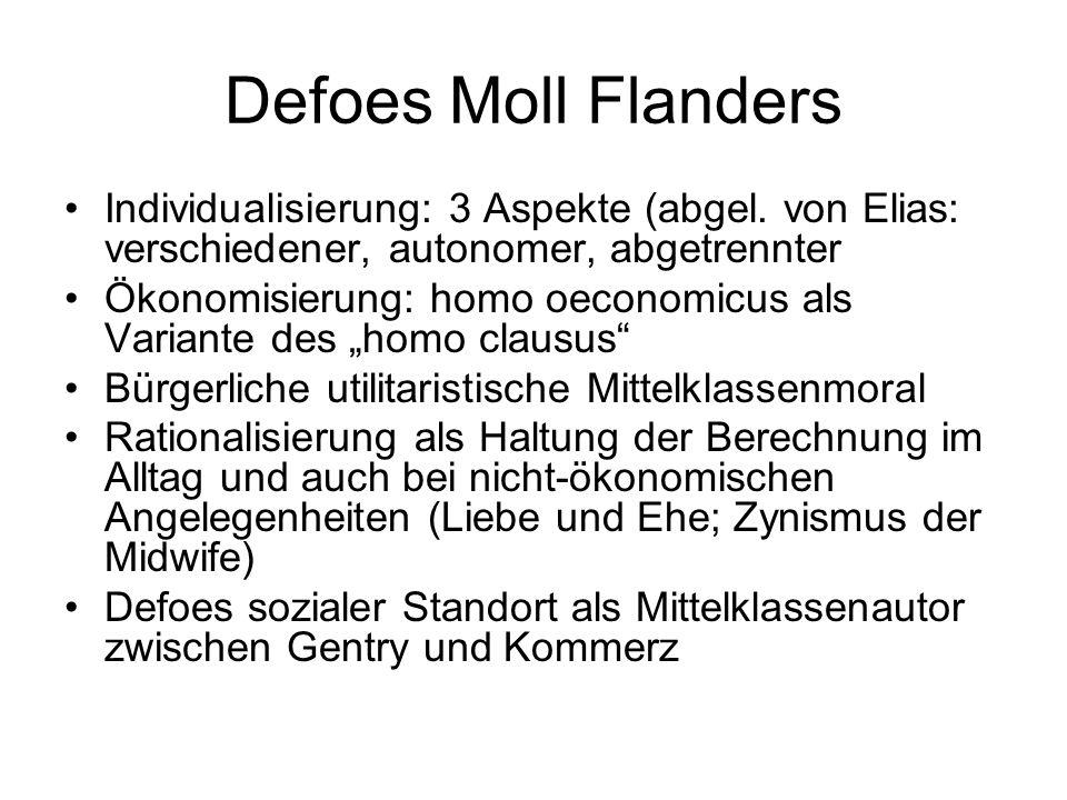 Defoes Moll Flanders Individualisierung: 3 Aspekte (abgel. von Elias: verschiedener, autonomer, abgetrennter.