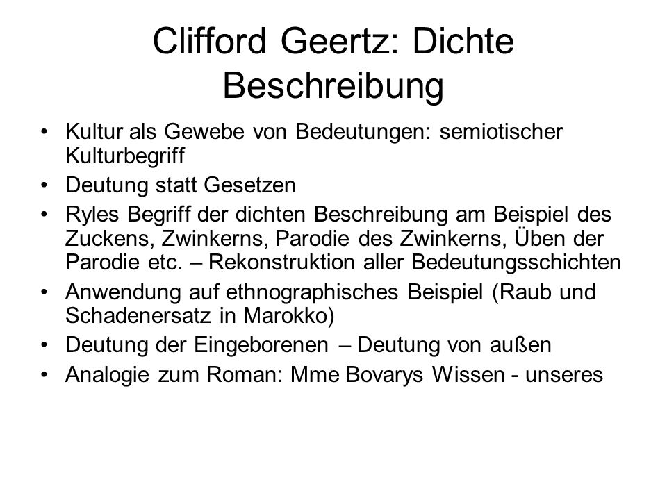 Clifford Geertz: Dichte Beschreibung
