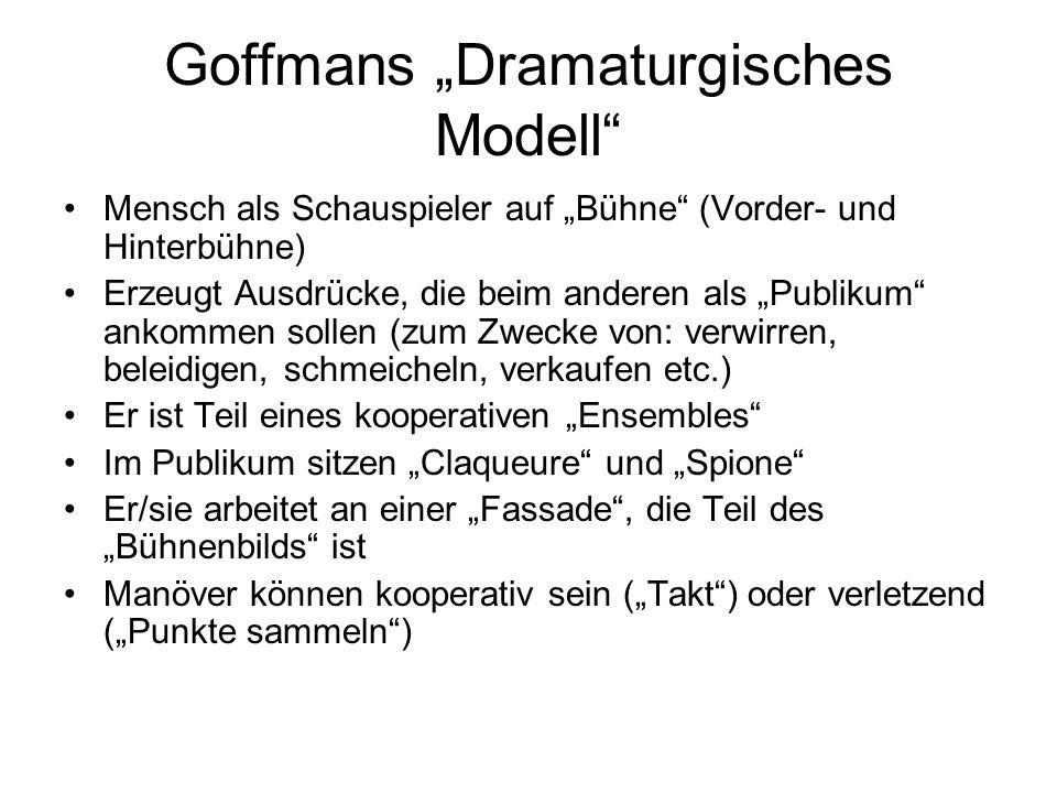 """Goffmans """"Dramaturgisches Modell"""
