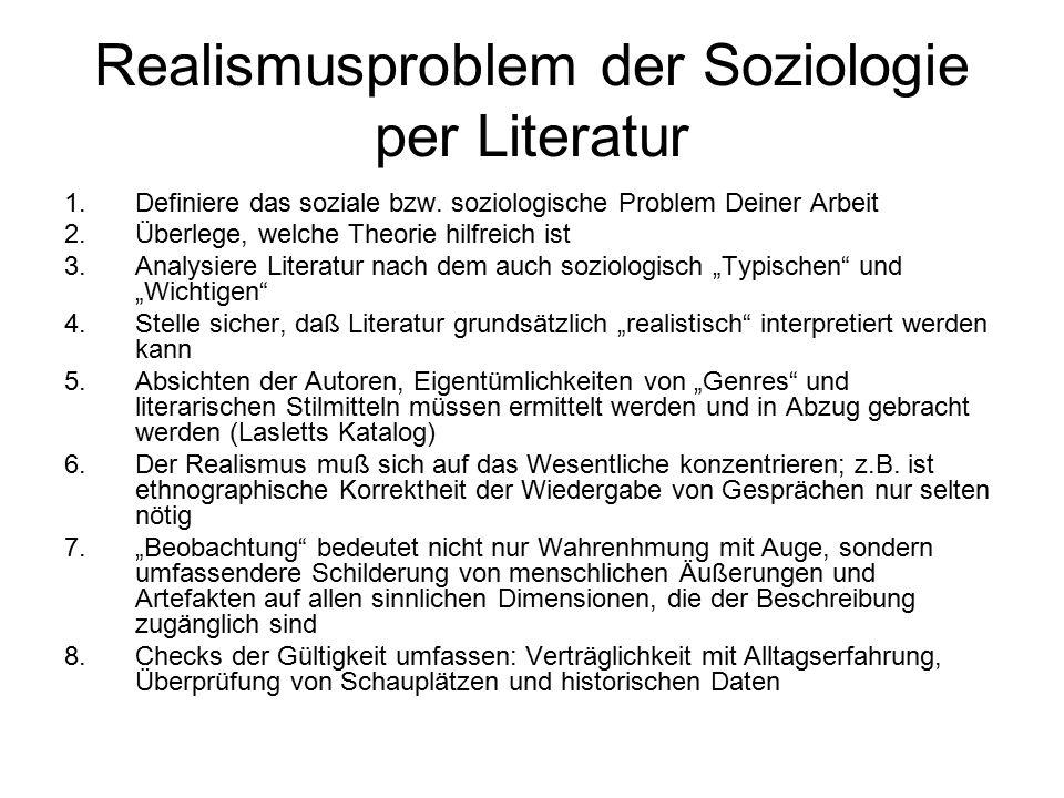 Realismusproblem der Soziologie per Literatur