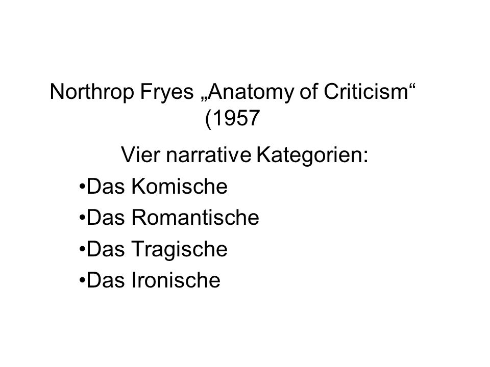 "Northrop Fryes ""Anatomy of Criticism (1957"