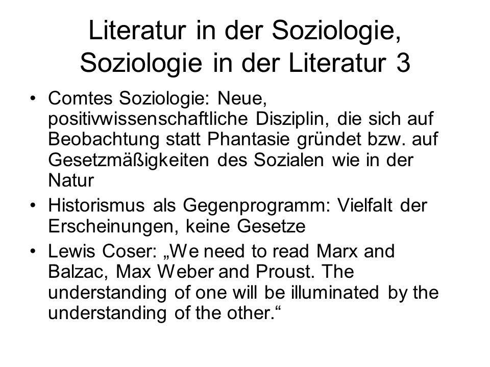 Literatur in der Soziologie, Soziologie in der Literatur 3