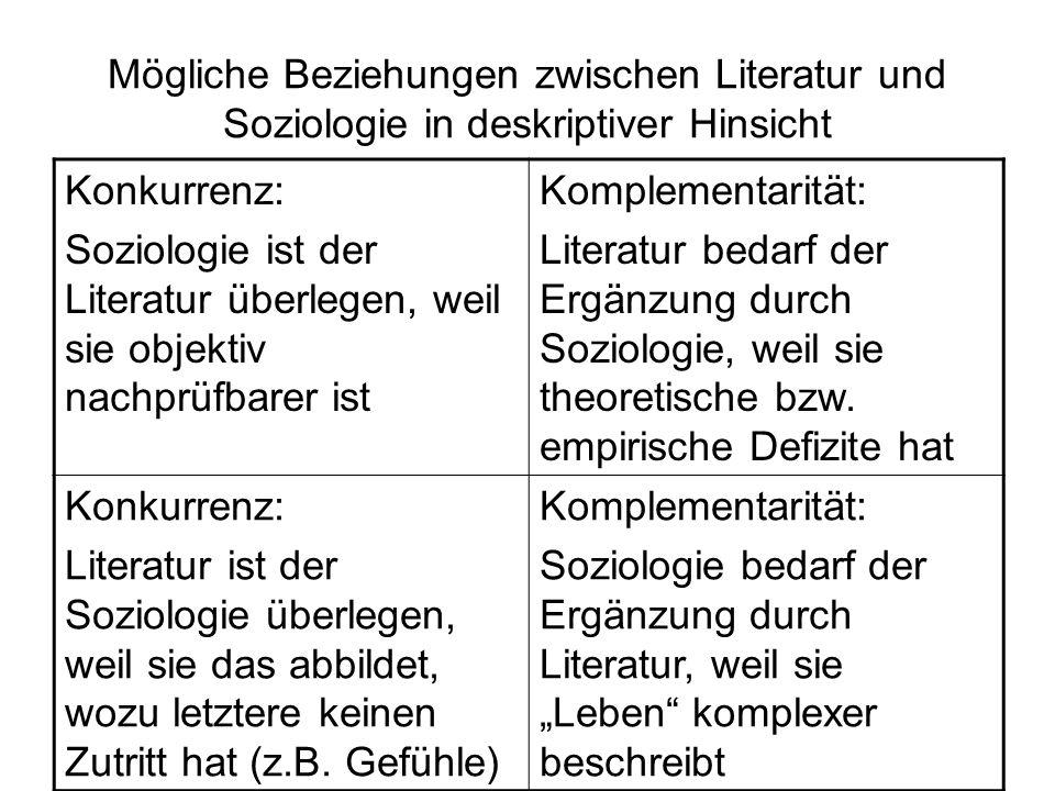 Mögliche Beziehungen zwischen Literatur und Soziologie in deskriptiver Hinsicht