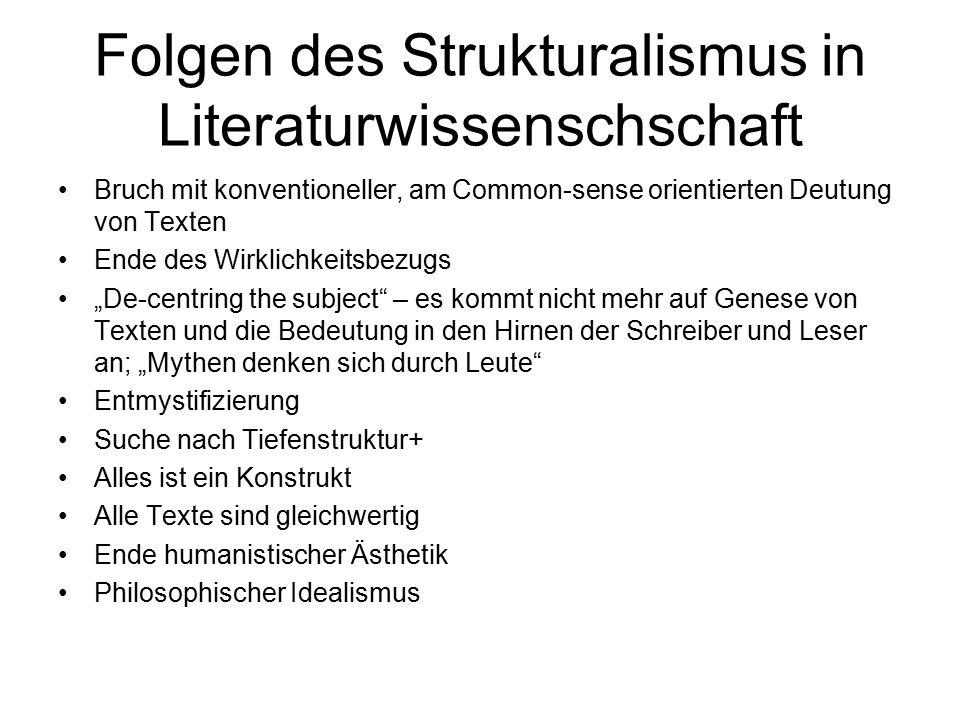 Folgen des Strukturalismus in Literaturwissenschschaft