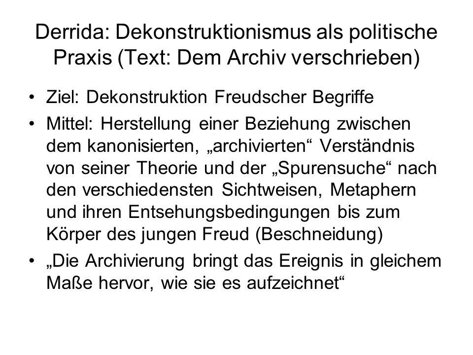 Derrida: Dekonstruktionismus als politische Praxis (Text: Dem Archiv verschrieben)