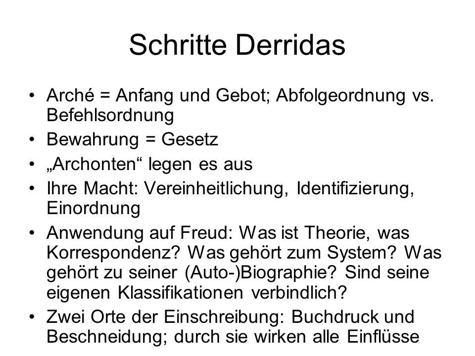 Schritte Derridas Arché = Anfang und Gebot; Abfolgeordnung vs. Befehlsordnung. Bewahrung = Gesetz.